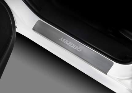 Накладки порогов Rival Mazda 6 III GJ 2015 , нерж. сталь, с надписью, 4 шт., NP.3802.3