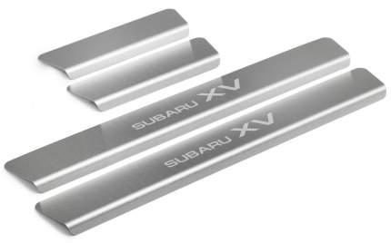 Накладки на пороги RIVAL для Subaru XV II 2017- нерж. сталь, с надписью 4 шт. NP.5401.3