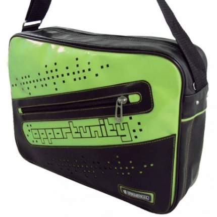 Сумка через плечо N1133 Opportunity Original из экокожи черная с зеленым