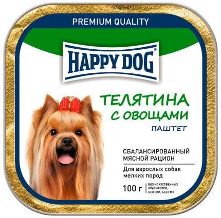 Консервы для собак Happy Dog, для мелких пород, паштет, телятина с овощами, 15шт по 100г