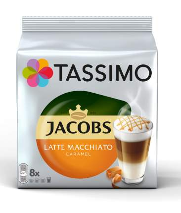 Кофе в капсулах Tassimo Jacobs Latte Macchiato с жидким молоком вкус карамели 8 порций