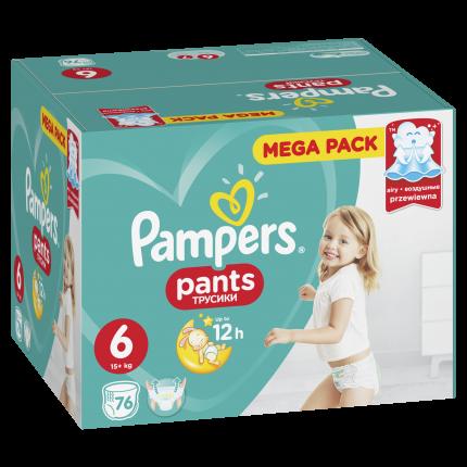 Подгузники-трусики Pampers Pants 6 (15+ кг), 76шт.