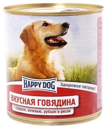Консервы для собак Happy Dog, говядина, сердце, печень, рубец и рис, 12шт по 750г