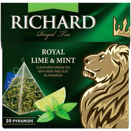 "Чай Tea.ru Richard ""Royal Lime&Mint"", зеленый с лаймом и мятой,  20 пирамидок"
