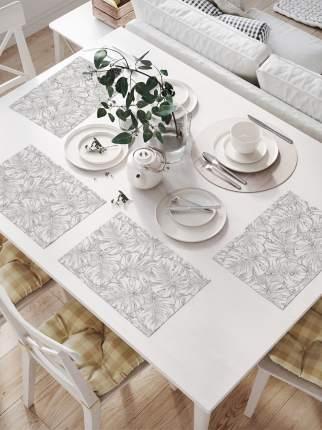 Комплект салфеток для сервировки стола «Нарисованные тропические листья» (32х46 см, 4 шт.)