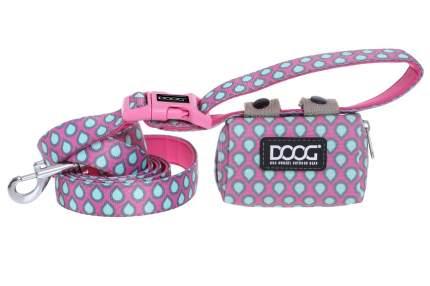 Сумка на поводок Doog Luna, розовая с каплями 12х9х4 см + 20 пакетов