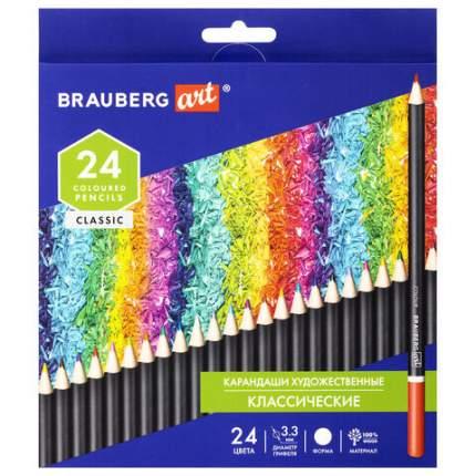 Карандаши цветные художественные BRAUBERG ART CLASSIC, 24 цвета, МЯГКИЙ грифель 3,3 м