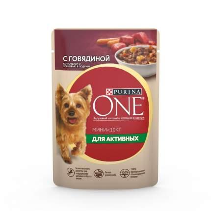 Влажный корм для собак Purina One Мини для активных взрослых пород, говядина, овощи, 85г