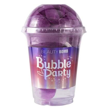 Набор: стакан Beauty Bomb с бомбочками и мочалкой Bubble Party