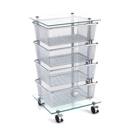 Этажерка-стеллаж металлическая  с 4 поворотными корзинами, стеклянные полки.