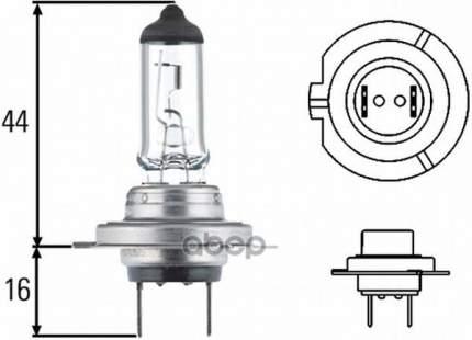 Лампа (H7) 55w 12v Px26d Галогенная Голубая Blue Light HELLA 8GH 007 157-181