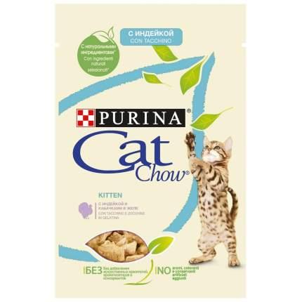Влажный корм для котят Cat Chow Kitten, с индейкой и кабачками в желе, 85г