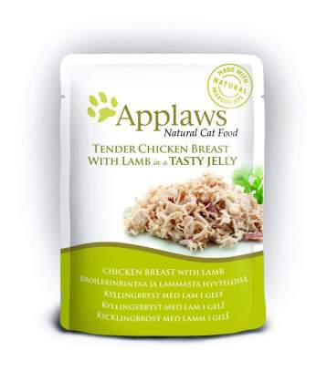 Влажный корм для кошек Applaws, с кусочками курицы и ягненком в желе, 70г