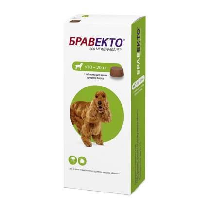Таблетки для собак против блох и клещей Intervet Бравекто, 10-20 кг, 1 таб по 500 мг