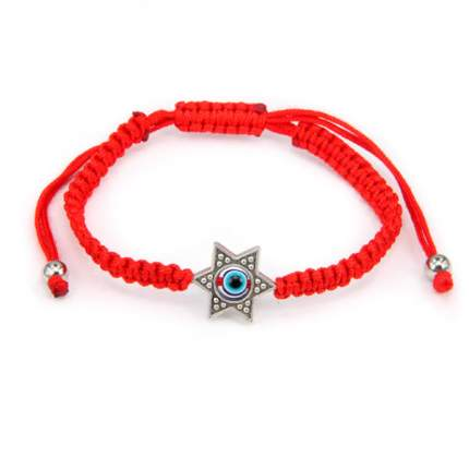 Плетёный браслет из красной нити Звезда Давида