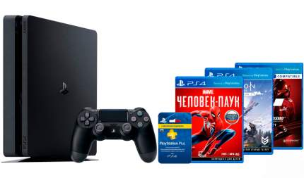 Игровая приставка Sony PlayStation 4 Slim 1Tb+Человек-паук + Horizon Z.Dawn.+Gran Tur. Sp.