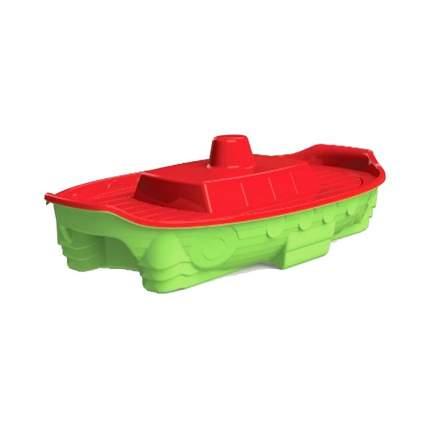 Песочница-бассейн Doloni корабль с крышкой, красно-салатовая, 71,5х138 см
