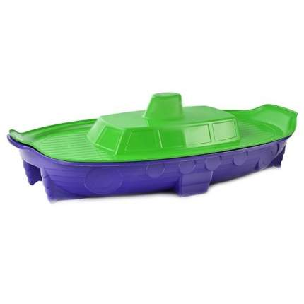 Песочница-бассейн Doloni корабль с крышкой, салатово-фиолетовая, 71.5х138 см