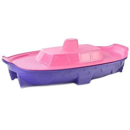 Песочница-бассейн Doloni корабль с крышкой, розово-фиолетовая, 71,5х138 см