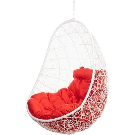 Подвесное кресло Bigarden Easy белое без стойки красная подушка