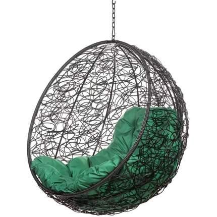 Подвесное кресло Bigarden Kokos черное без стойки зеленая подушка