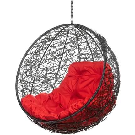 Подвесное кресло Bigarden Kokos черное без стойки красная подушка
