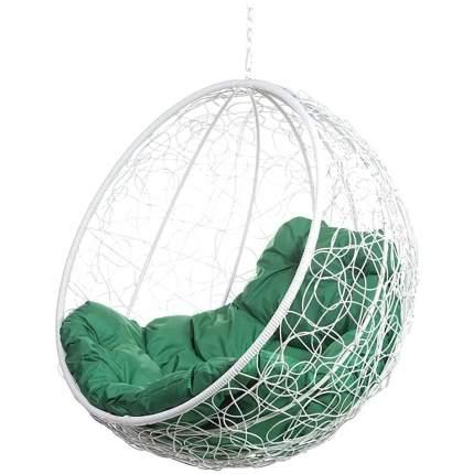 Подвесное кресло Bigarden Kokos белое без стойки зеленая подушка