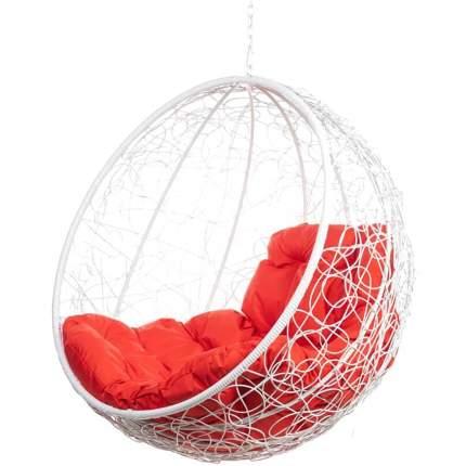 Подвесное кресло Bigarden Kokos белое без стойки красная подушка