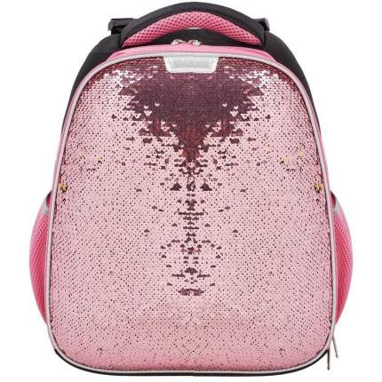 Ранец №1 School Sparkle Rose gold розовый с пайетками