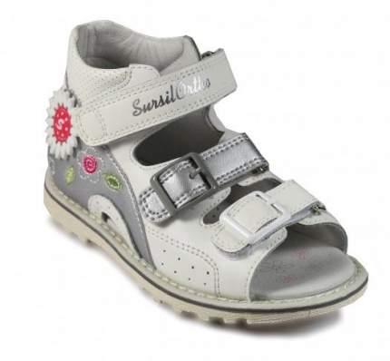 Ортопедические сандалии Sursil-Ortho 55-179_M для девочек белый, серебристый