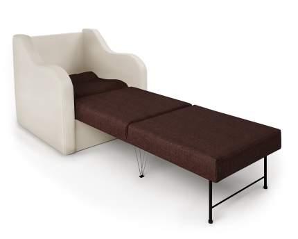 Кресло-раскладушка Классика В экокожа беж и рогожка
