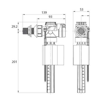 Заливная арматура для бачка с боковым подводом воды IDDIS F012400-0006