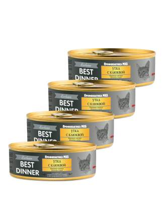 Консервы для кошек Best Dinner Exclusive, утка с клюквой, 4шт по 100г