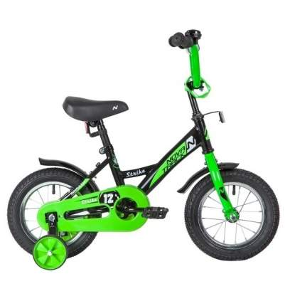 """Велосипед Novatrack """"Strike"""" (цвет: чёрно-зеленый, 12"""")"""