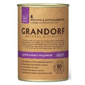 Консервы для собак Grandorf Adult, все породы, кабан и индейка, 400г