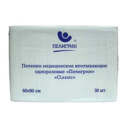 Пеленки одноразовые впитывающие Пелигрин Classic 60х90 см 30 шт.