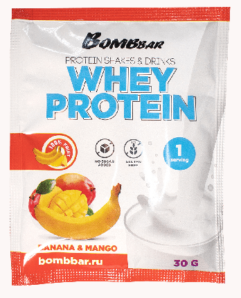 Протеин Bombbar Whey Protein, 30 г, banana & mango