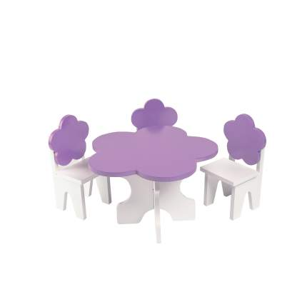 Набор мебели для кукол PAREMO PFD120-45 Цветок стол + стулья, белый/фиолетовый