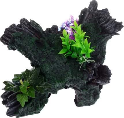 Грот для аквариума Barbus Decor 036 Коряга с растением, пластик, 30,5х20х20,5 см