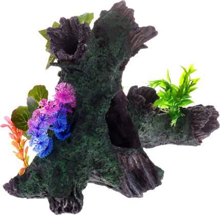Грот для аквариума Barbus Decor 038 Коряга с растением, пластик, 34,5х17х25,5 см