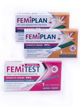 Тест-полоска FEMiPLAN №5 2шт + FEMiTEST Express тест-полоска 1 шт.