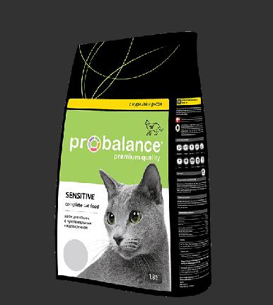Сухой корм для кошек Probalance Sensitive, чувствительное пищеварение, 1,8 кг