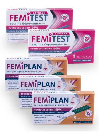 Промо набор тест для опред. овуляции FEMiPLAN 3 шт. + тест для опред. беременности 2 шт.