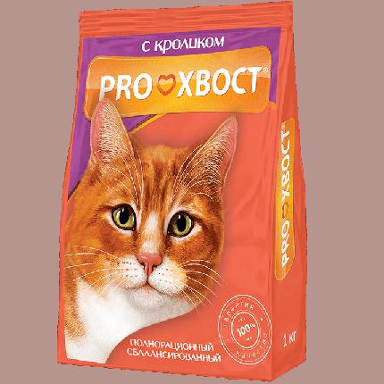 Сухой корм для кошек ProХвост, кролик, 1кг