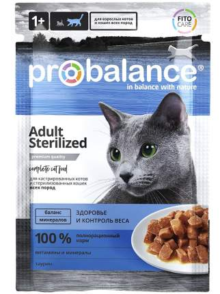 Влажный корм для кошек ProBalance Sterilized, с курицей, 85г