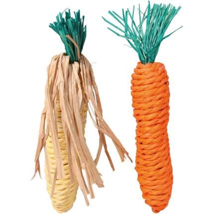 Игрушка для грызунов TRIXIE Морковь и кукуруза, сизаль, набор, 2 шт, 15 см