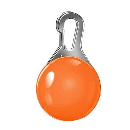 Блинкер-маячок на ошейник для кошек и собак Грызлик Ам светящийся оранжевый