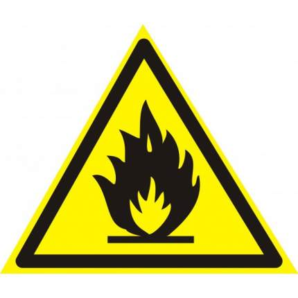 Знак W01 Пожароопасно. Легковоспламеняющиеся вещества 20х20