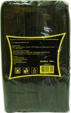 Пеленки впитывающие для животных Доброзверики с суперабсорбентом черные 60х90 см, 10 шт