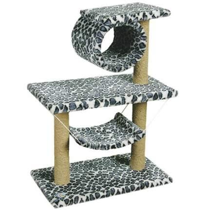 Комплекс для кошек Зооник двухэтажный с трубой и гамаком цветной мех 70х40х90 см